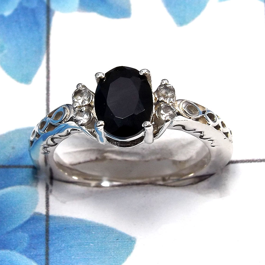 Black Onyx Cut C - SCR762 - Solid 925 Sterling Silver Natural Black Onyx 6x8mm Oval Cut Gemstone Casting Ring