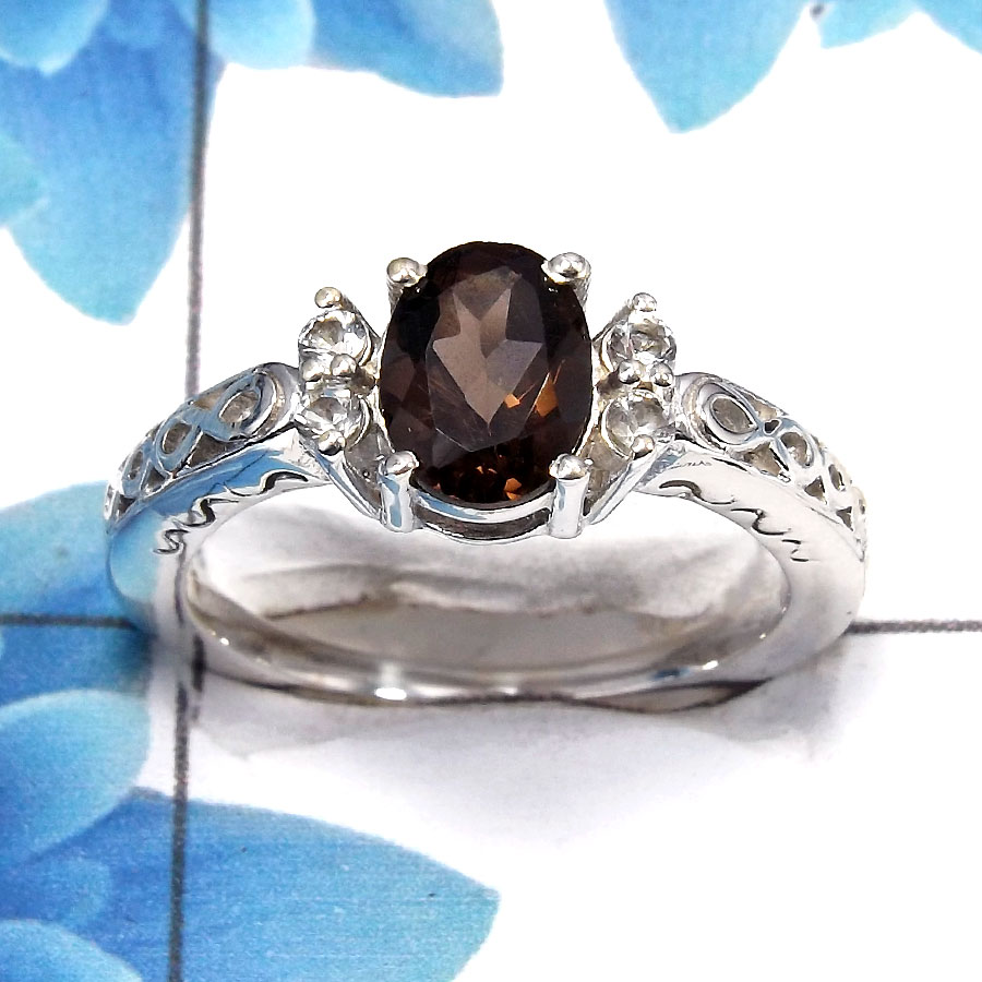 Smokey Cut D - SCR762 - Newly Arrival Natural Brown Smokey Cut Gemstone 925 Sterling Silver Casting Ring