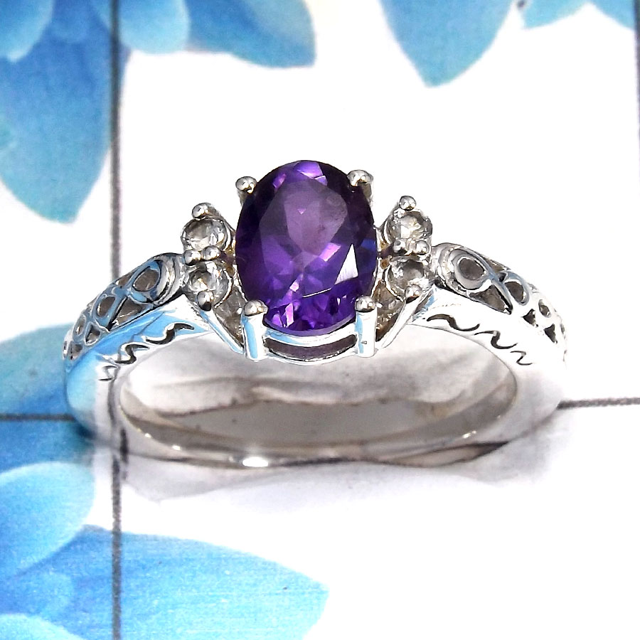 Amethyst Cut F - SCR762 - Latest Collection Natural Purple Amethyst Cut Gemstone 925 Sterling Silver Casting Ring