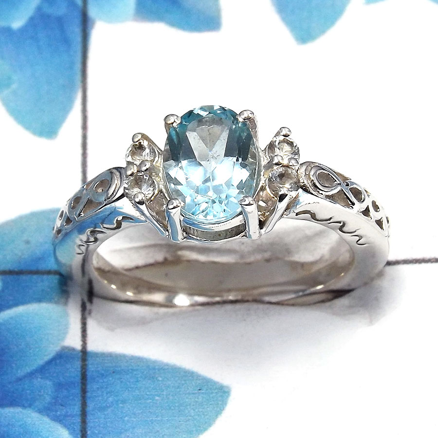 Blue Topaz Cut G - SCR762 - Solid 92.5% Sterling Silver Natural Blue Topaz Cut Gemstone Casting Ring