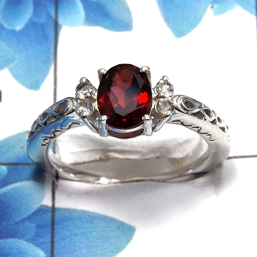 Garnet Cut I - SCR762 - Gorgeous Natural Red Garnet Cut Gemstone 925 Sterling Silver Casting Ring