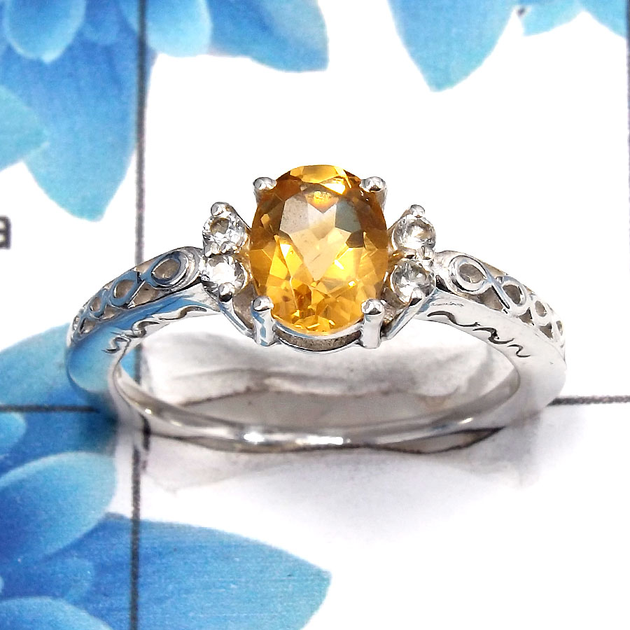 Citrine Cut J - SCR762 - Solid 925 Sterling Silver Natural Citirne 6x8mm Oval Cut Gemstone Casting Ring