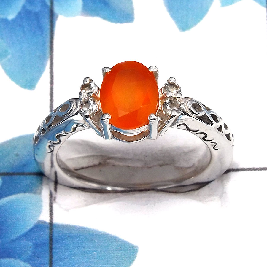 Carnelian Cut O - SCR762 - Awesome Natural Carnelian Gemstone Solid 925 Sterling Silver Casting Ring