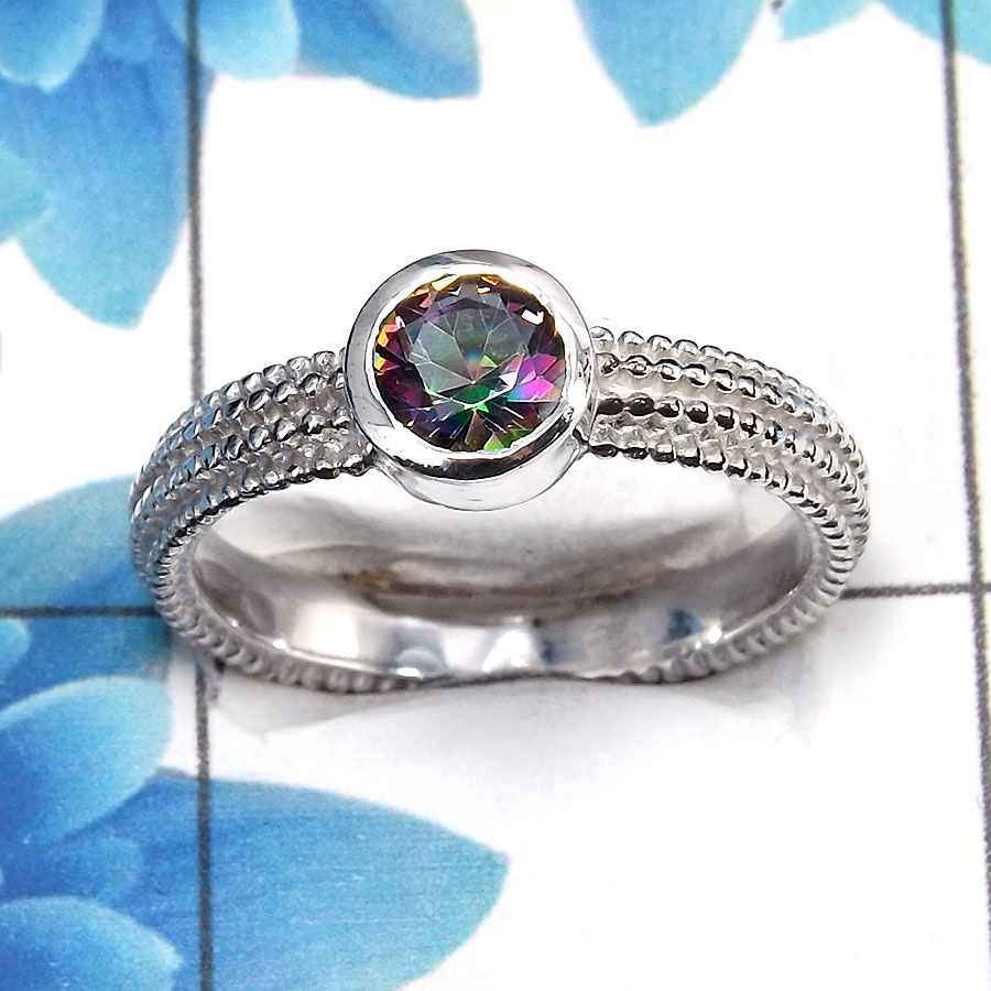Mystic Cut O - SCR763 - Exclusive Natural Mystic Cut Gemstone Solid 925 Sterling Silver Casting Ring