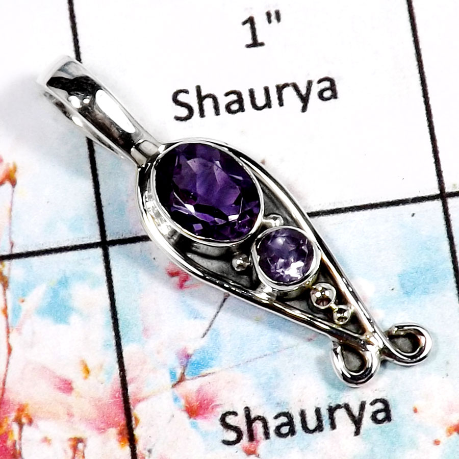 Amethyst Cut-H SD413-Natural Cut Gemstone Handmade Wholesale Pendant 925 Sterling Silver