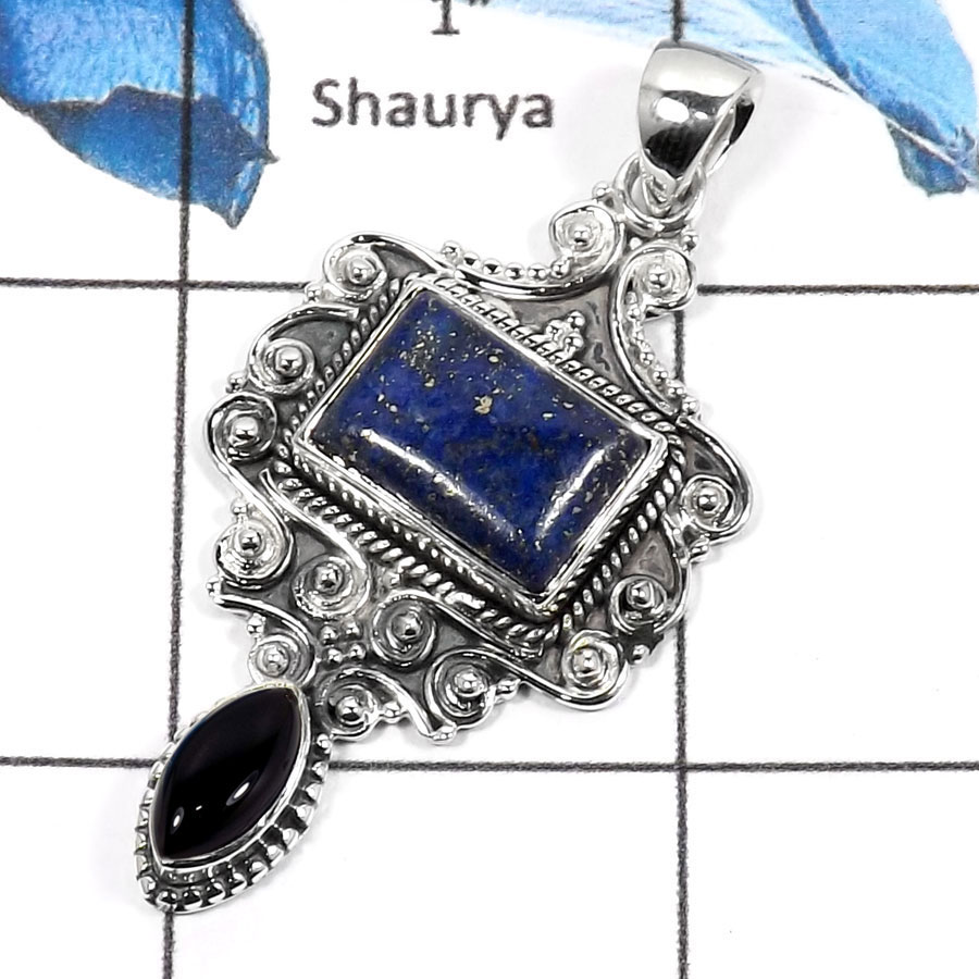 Lapis Lazuli & Black Onyx E - SD430-Exclusive Two Stone Handmade Designer Pendants 925 Sterling Silver