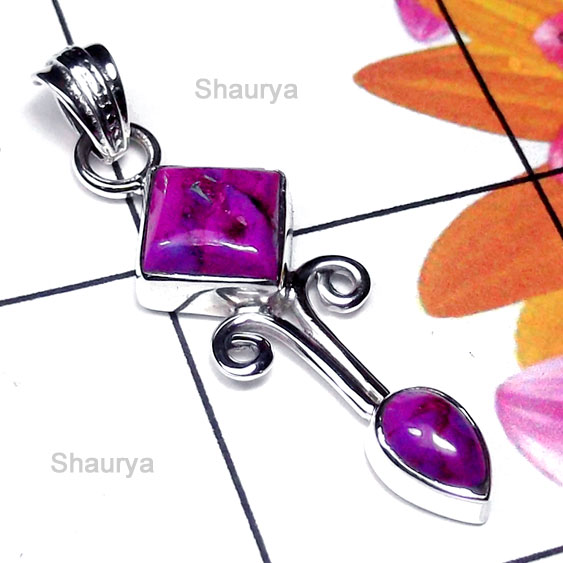 Purple Turquoise A - SD994-Stylish Pendant with Multi Gemstone