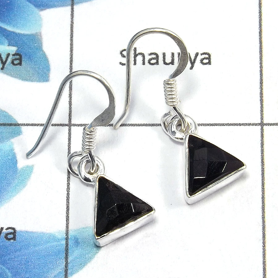Black Onyx Cut - D SDE515 - Indian Company Made Solid 92.5% Sterling Silver Designer Earrings