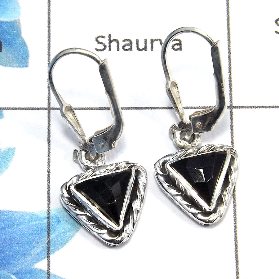 Black Onyx Cut - E SDE515 - Awesome Natural Black Onyx Solid 92.5% Sterling Silver Designer Earrings