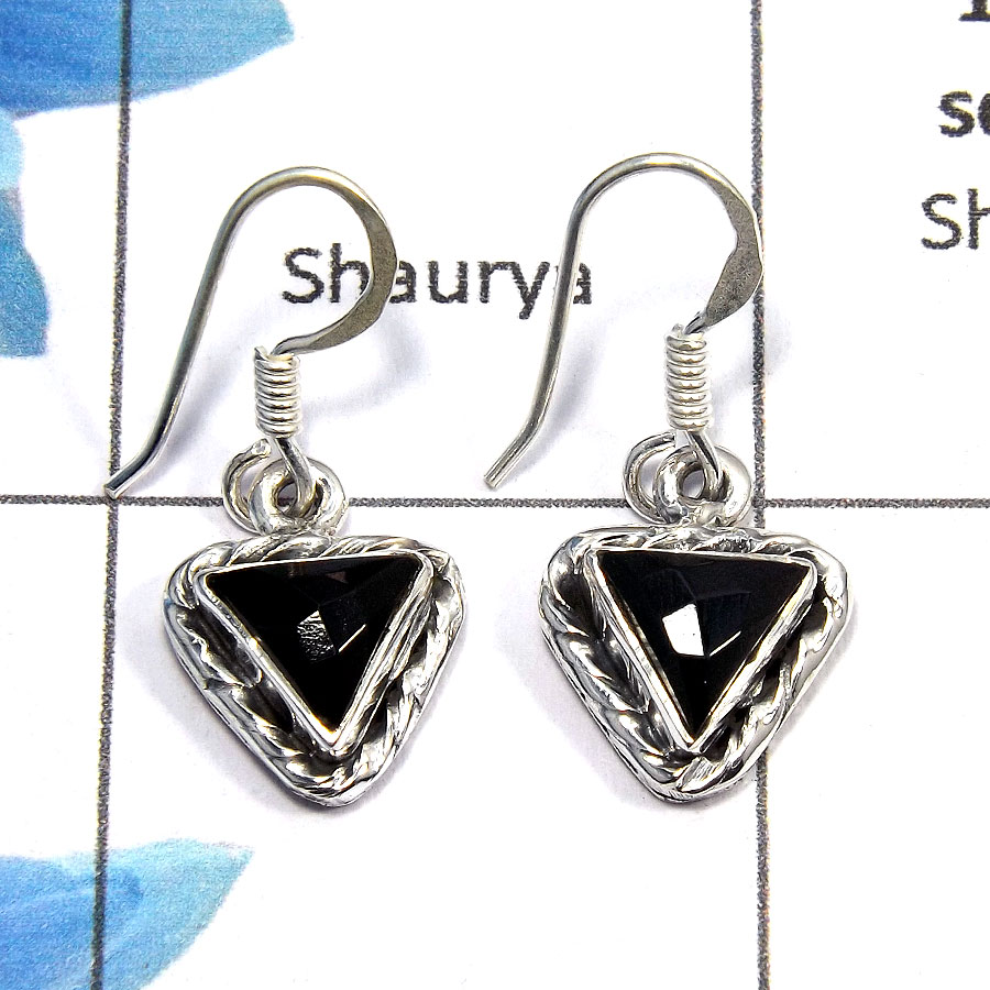 Black Onyx Cut - O SDE515 - Excellent Natural Black Onyx Cut Gemstone 925 Sterling Silver Designer Earrings