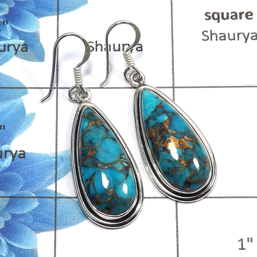 Blue Copper Turquoise Cab - B SDE516 - Solid 925 Sterling Silver Blue Copper Turquoise Gemstone Designer Earrings
