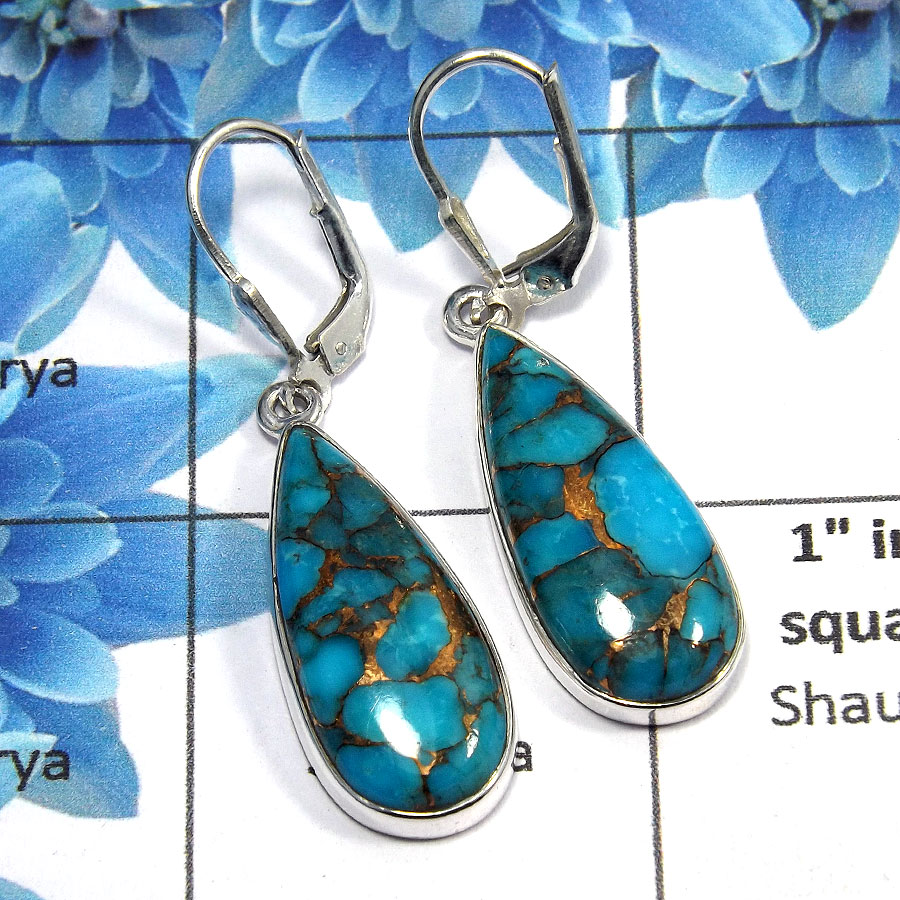 Blue Copper Turquoise Cab - O SDE516 - Newly Arrival Copper Turquoise Gemstone 925 Sterling Silver Designer Earrings