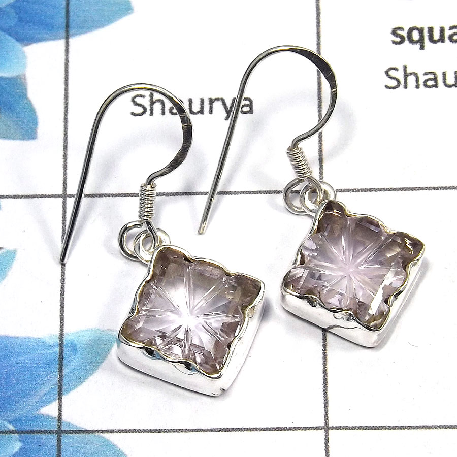 Amethyst Carving - C SDE517 - Awesome Natural Pink Amethyst Carving Gemstone 925 Sterling Silver Designer Earrings