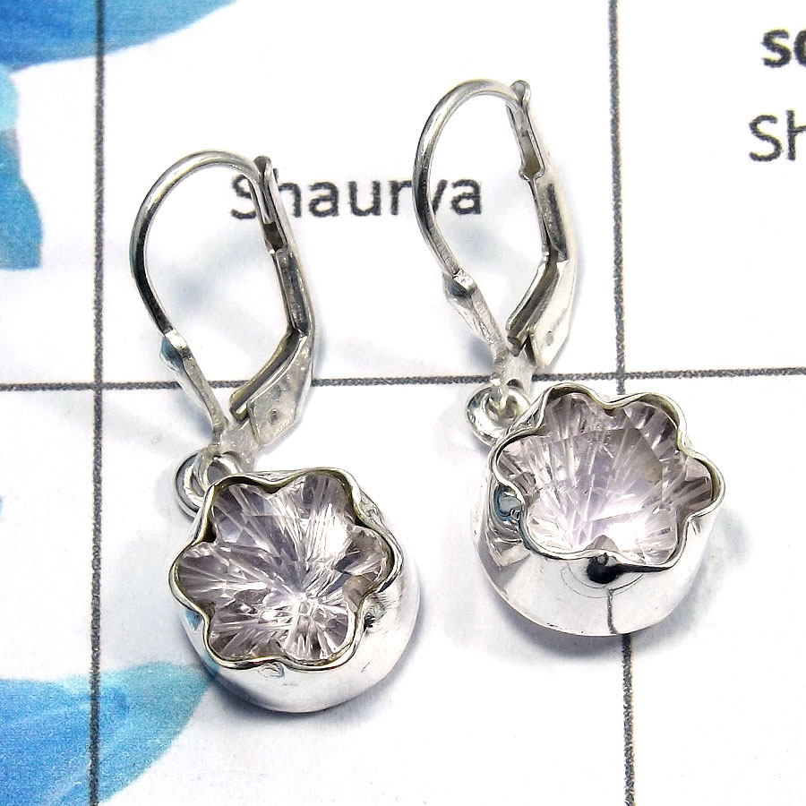 Amethyst Carving - E SDE517 - Exclusive Natural Pink Amethyst Carving Gemstone 925 Sterling Silver Designer Earrings