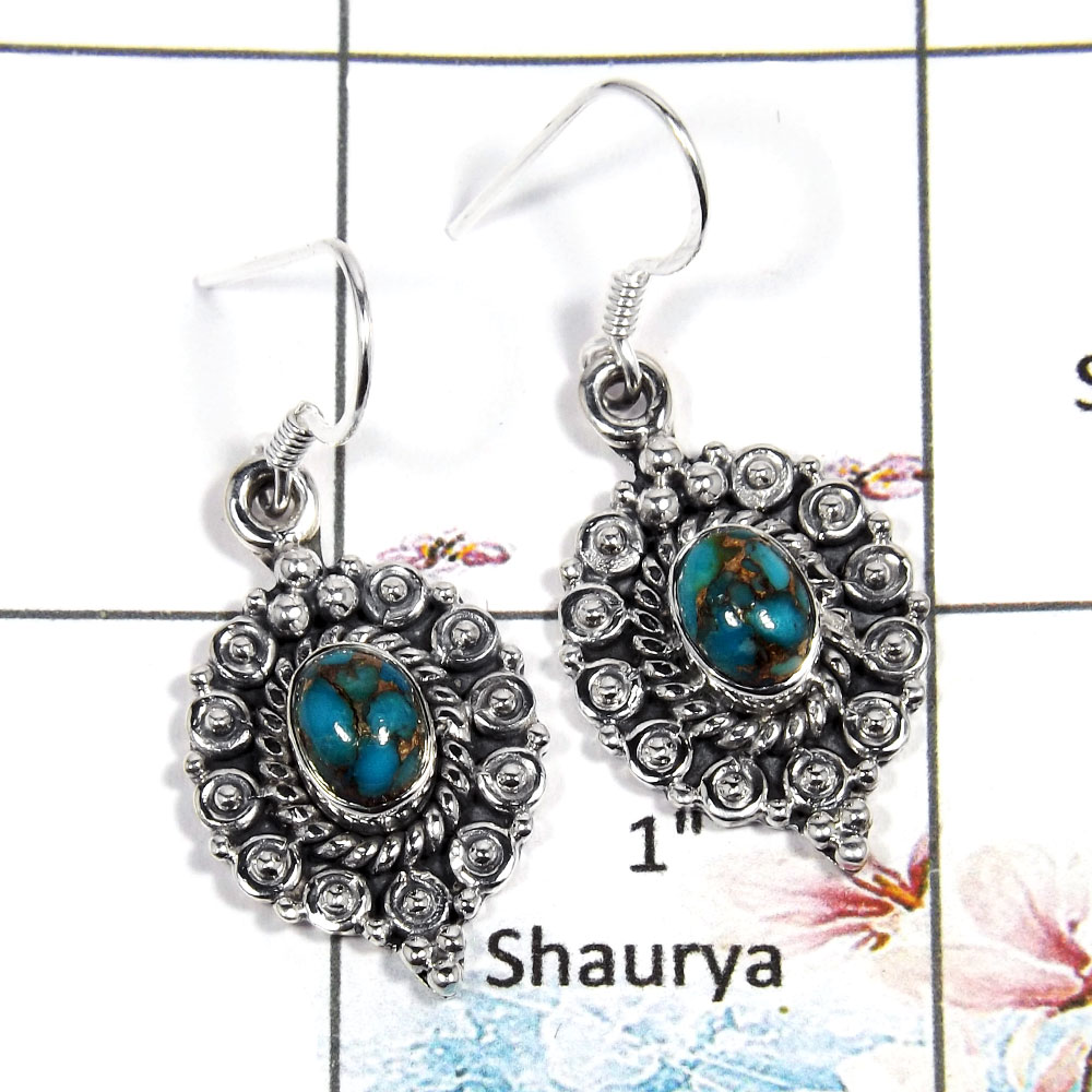Copper Turquoise Cab Sde544 Blue Stone 925 Sterling Silver Designer Earrings