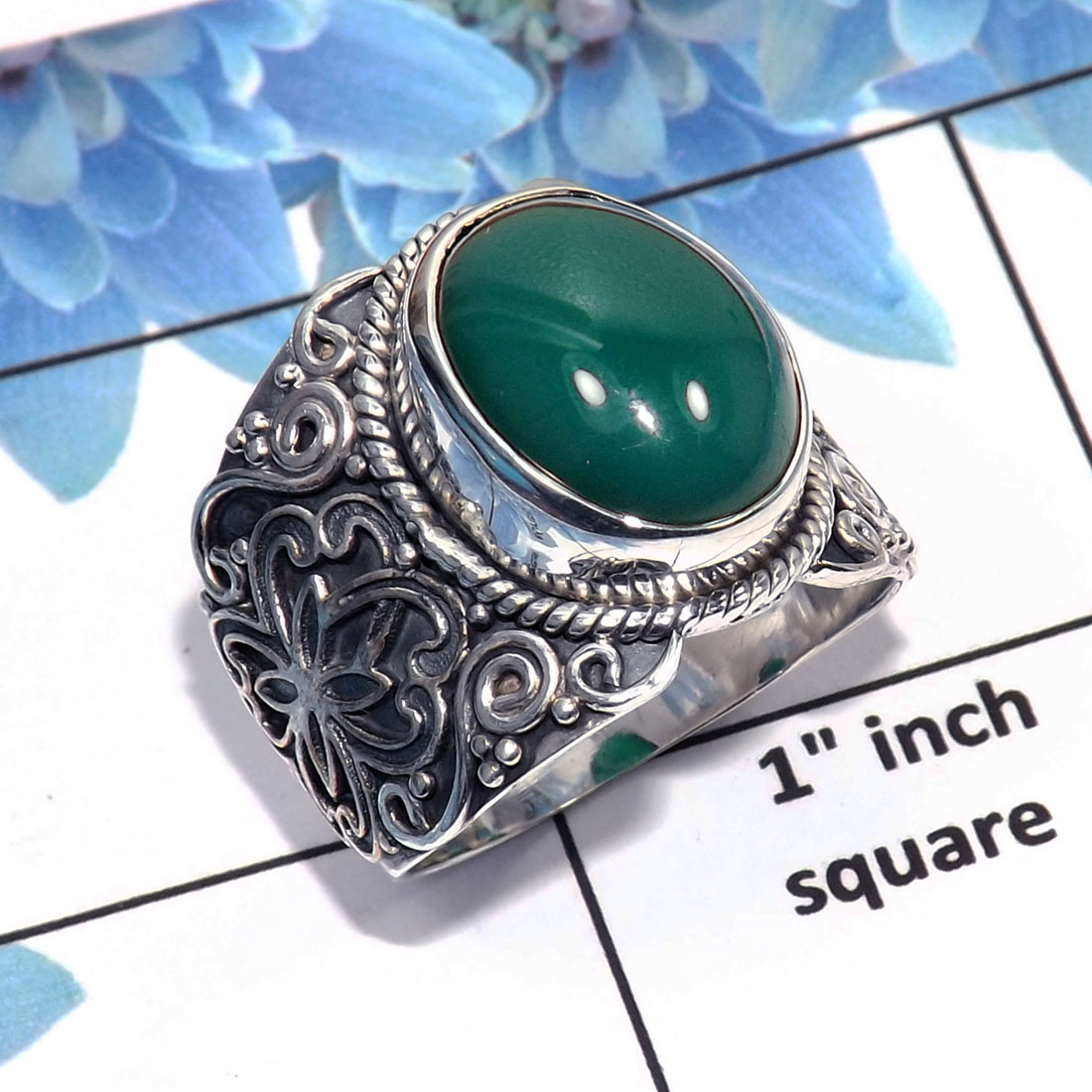 Green Onyx Ring-C SDR445- Green Onyx Cab Made in Solid 92.5% Handmade Designer Ring