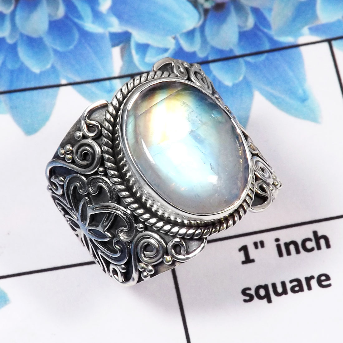 Rainbow Moonstone Cab Ring-E SDR445-Natural Fiery Rainbow Moonstone 925 Sterling Silver Handmade Designer Mood Ring