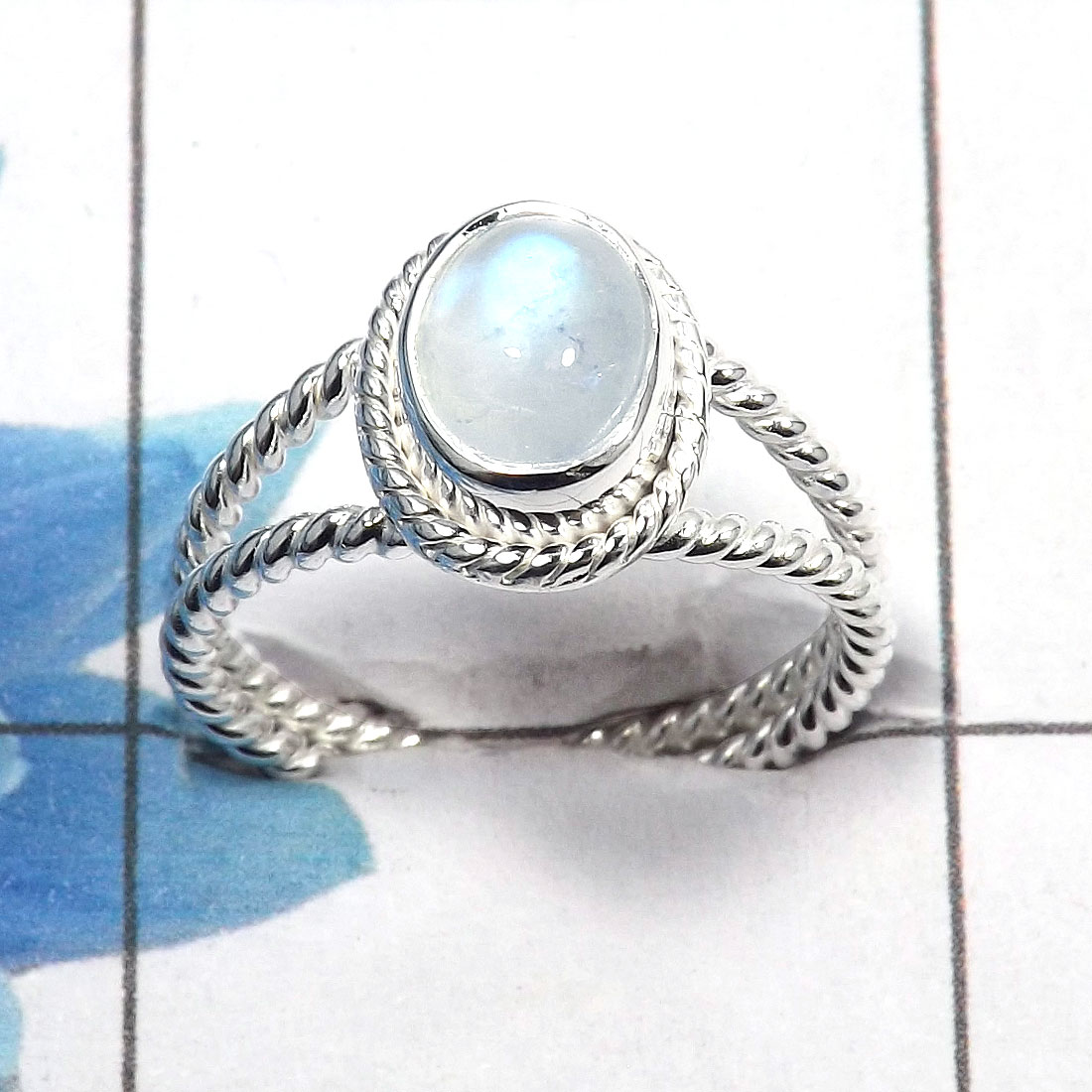 Rainbow Moonstone Cab A - SDR460 - Natural Rainbow Moonstone Gemstone Designer Ring 925 Sterling Silver
