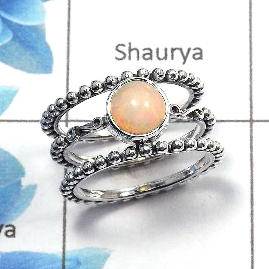 Ethiopian Opal Cab I - SDR471 - Natural Ethiopian Opal 6mm Round Gemstone Ring 925 Sterling Silver