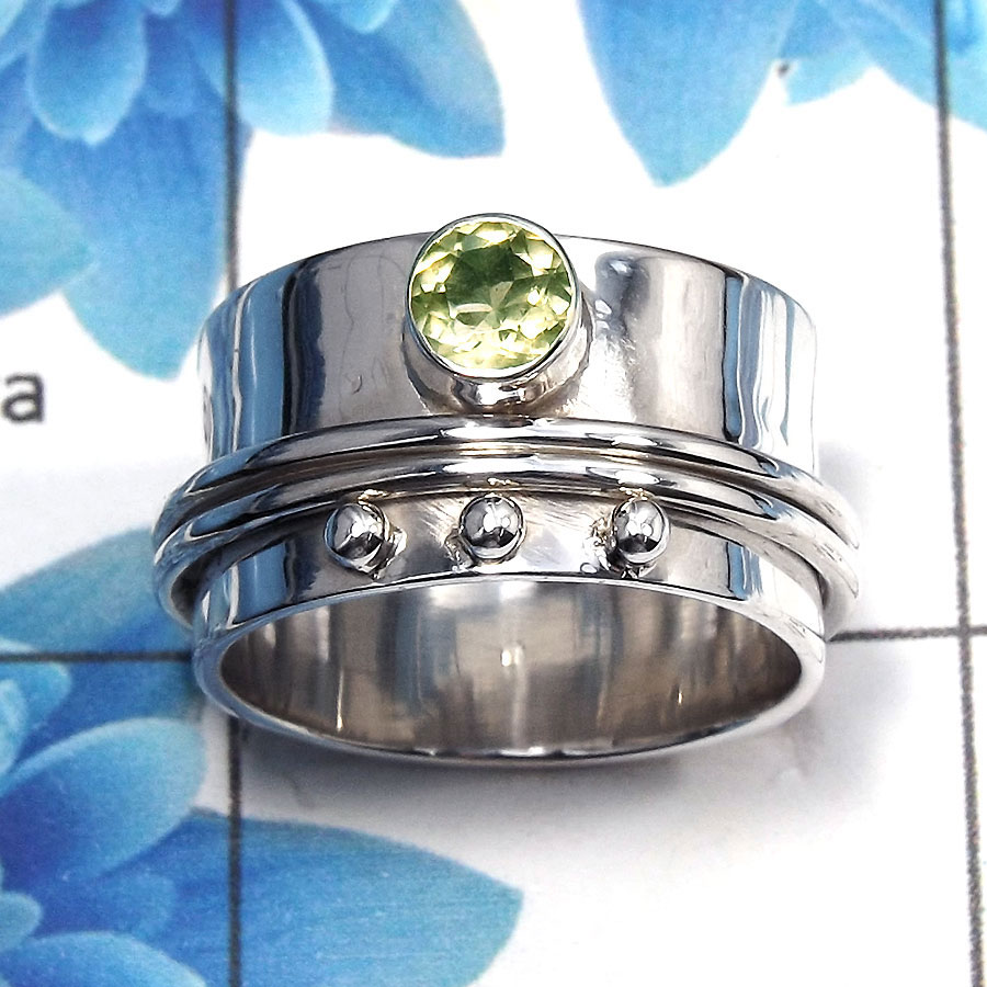 Green Amethyst Cut G - SDR481 - Awesome Natural Green Amethyst Cut Gemstone 925 Sterling Silver Designer Band Ring