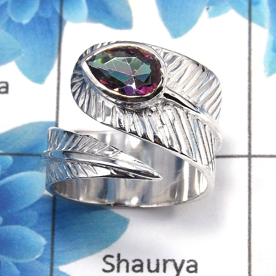 Mystic Cut O - SDR482 - Stunning Natural Mystic Cut Gemstone Solid 925 Sterling Silver Leaf Design Ring