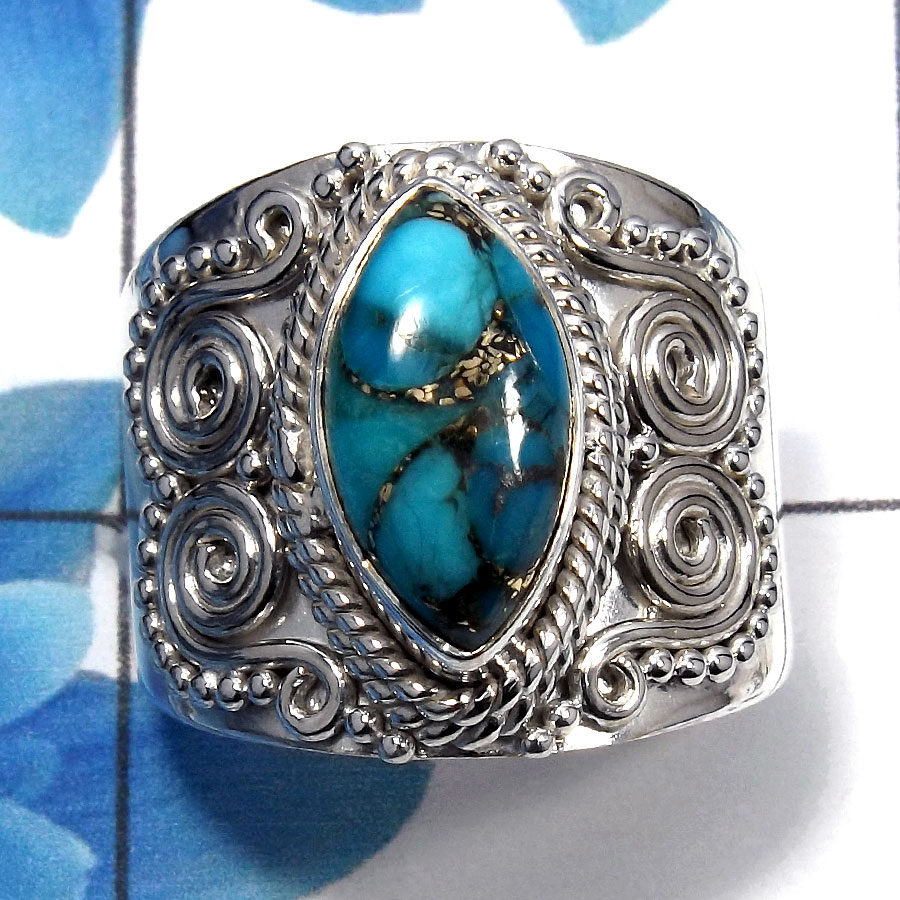 Blue Copper Turquoise Cab C - SDR483 - Indian Factory Made Solid 925 Sterling Silver Designer Ring