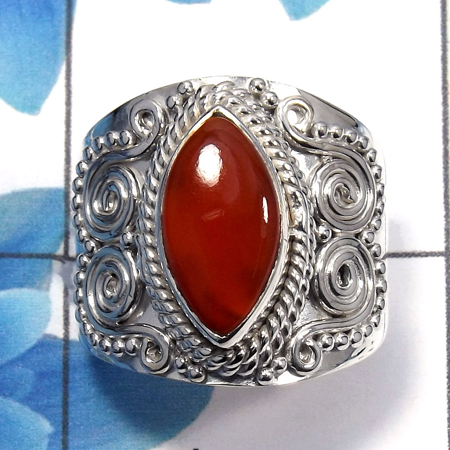 Carnelian Cab D - SDR483 - Natural Carnelian Marquise Shape Gemstone 925 Sterling Silver Designer Ring