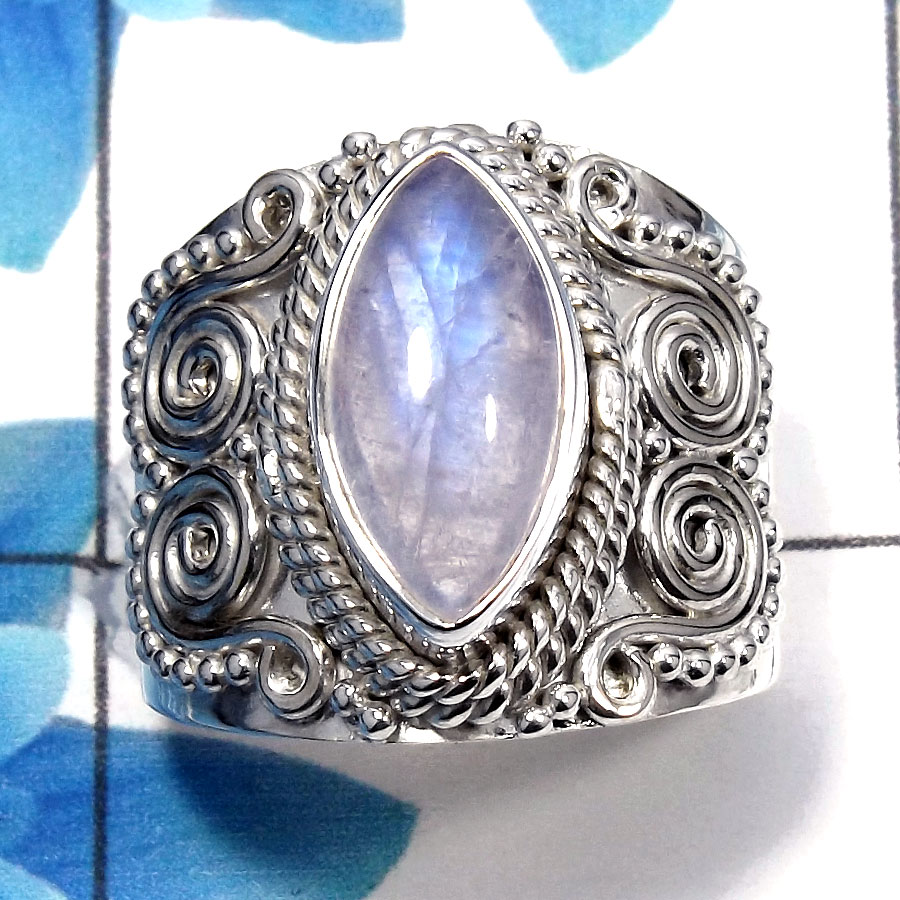 Rainbow Moonstone Cab F - SDR483 - Natural Blue Fire Rainbow Moonstone Gemstone 925 Sterling Silver Designer Ring