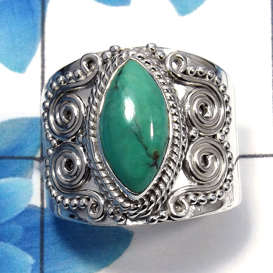 Tibet Turquoise Cab O - SDR483 - Amazing Natural Tibet Turquoise Gemstone 925 Sterling Silver Designer Ring