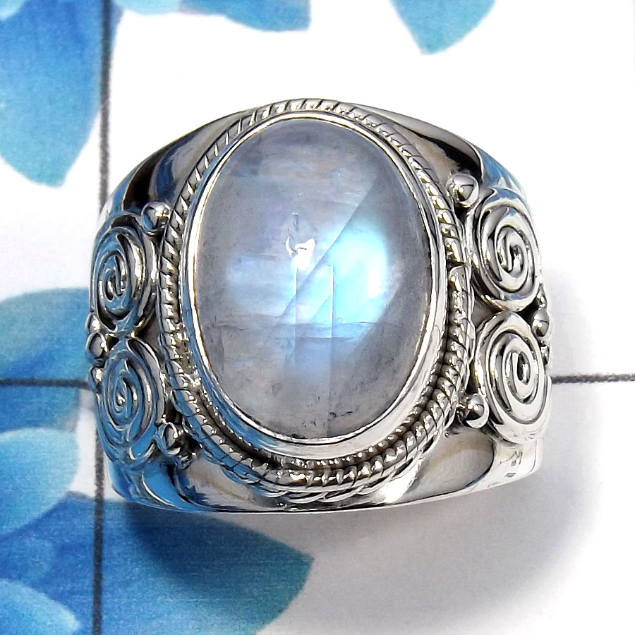 Rainbow Moonstone Cab C - SDR484 - Natural Blue Fire Rainbow Moonstone Gemstone 925 Sterling Silver Designer Ring