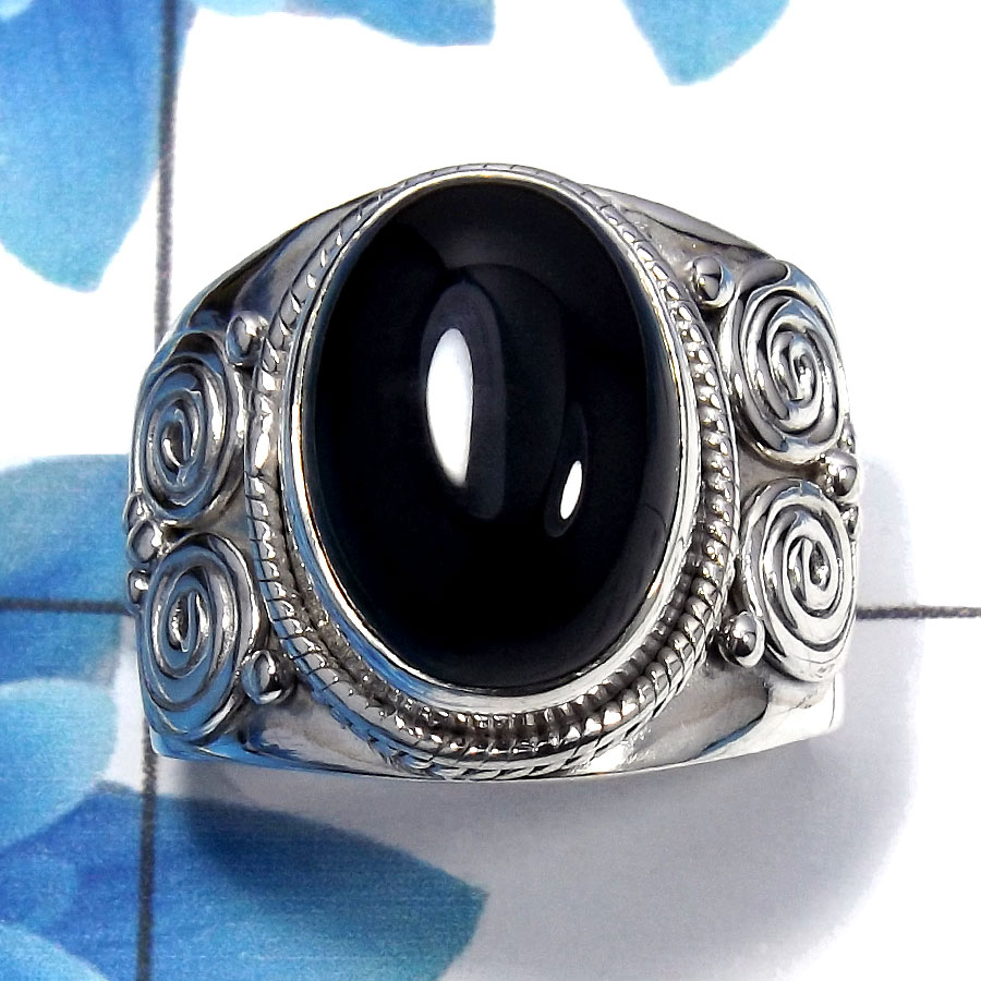 Black Onyx Cab D - SDR484 - 925 Sterling Silver Natural Black Onyx Oval Shape Gemstone Designer Ring
