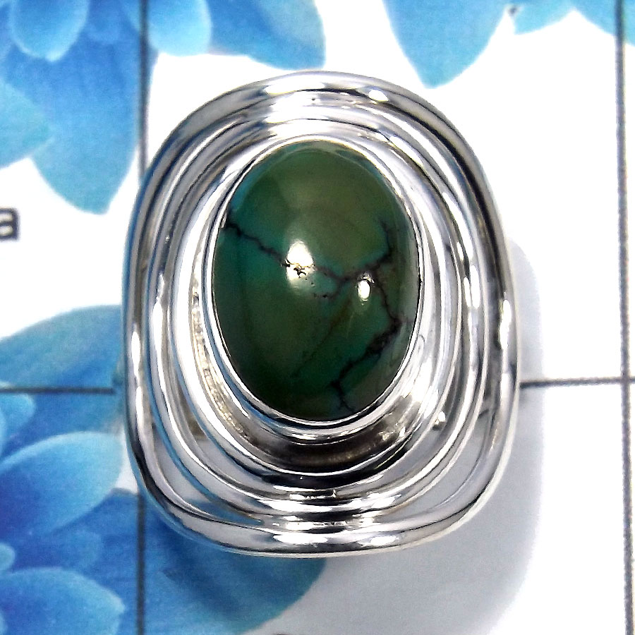 Tibet Turquoise Cab D - SDR485 - Indian Company Made 925 Sterling Silver Natural Tibet Turquoise Gemstone Designer Ring