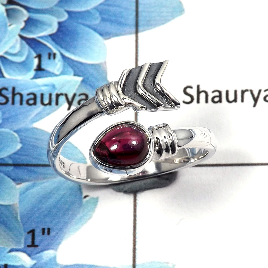 Garnet Cab E - SDR500 - Exclusive Natural Red Garnet Cab Gemstone 925 Sterling Silver Designer Ring