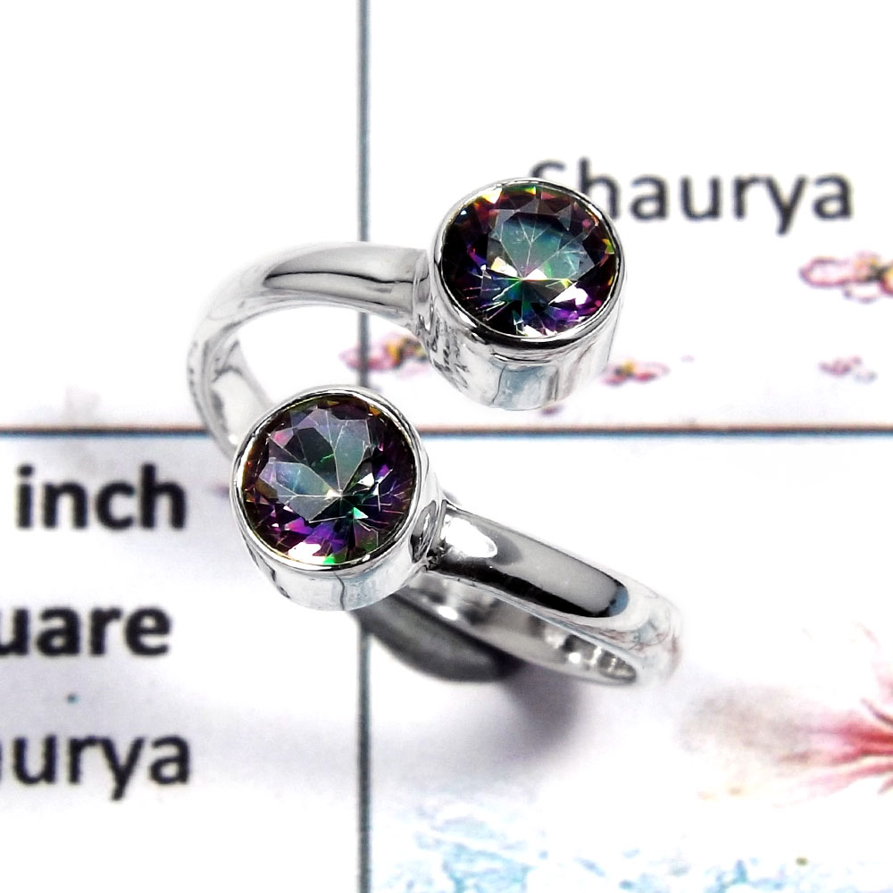 Mystic Cut - O - SDR502 - Solid 92.5% Sterling Natural Multi Color Mystic Gemstone Silver Designer Ring