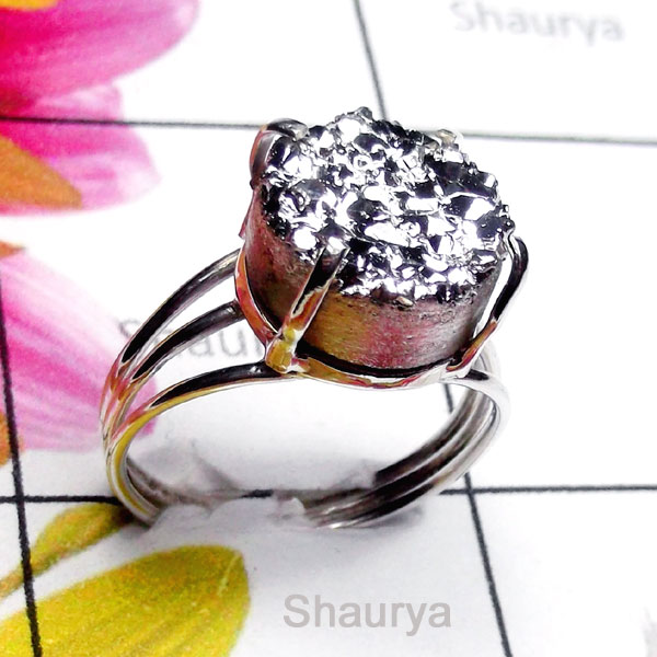 Druzy B - SDR993-Small Size Sterling Silver Natural Ring