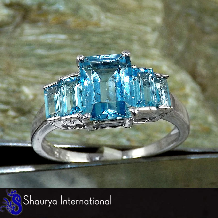 Blue Topaz Cut E - SFJ874 - Gorgeous Natural Blue Topaz Cut Gemstone Solid 925 Sterling Silver Ring