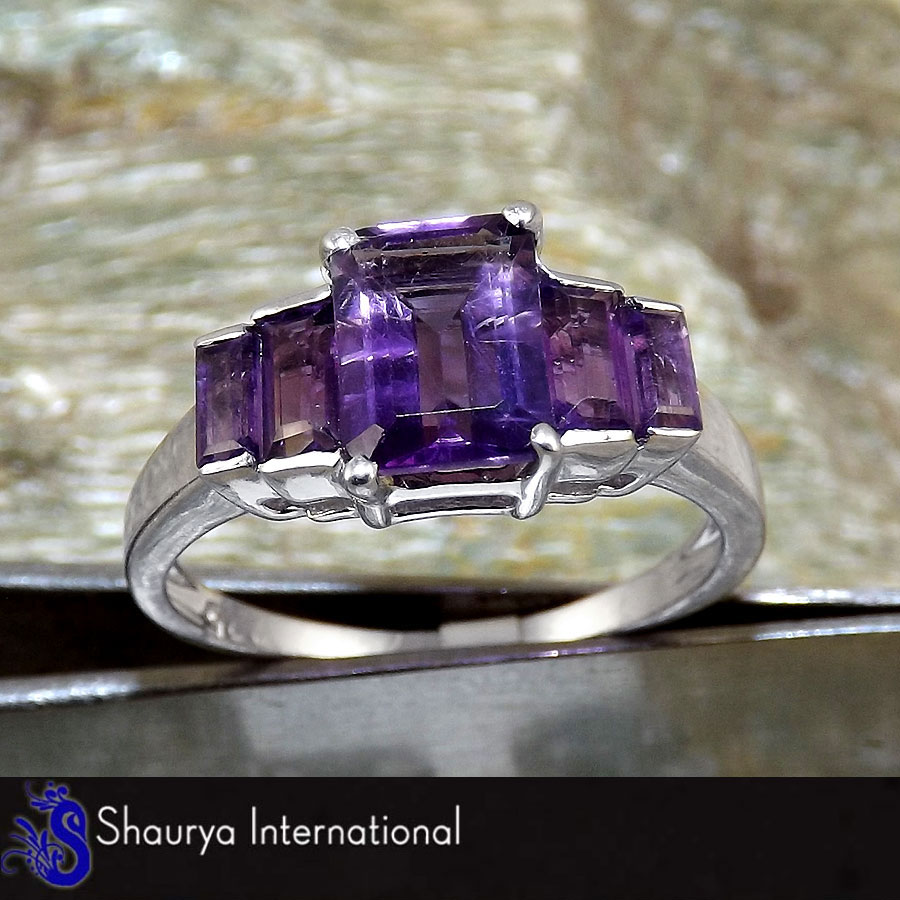Amethyst Cut G - SFJ874 - Indian Company Made Solid 925 Sterling Silver Natural Purple Amethyst Cut Gemstone Ring