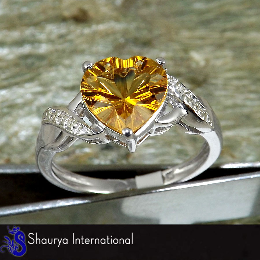 Citrine Cut H - SFJ874 - Natural Yellow Citrine Cut Heart Shape Gemstone Solid 925 Sterling Silver Ring