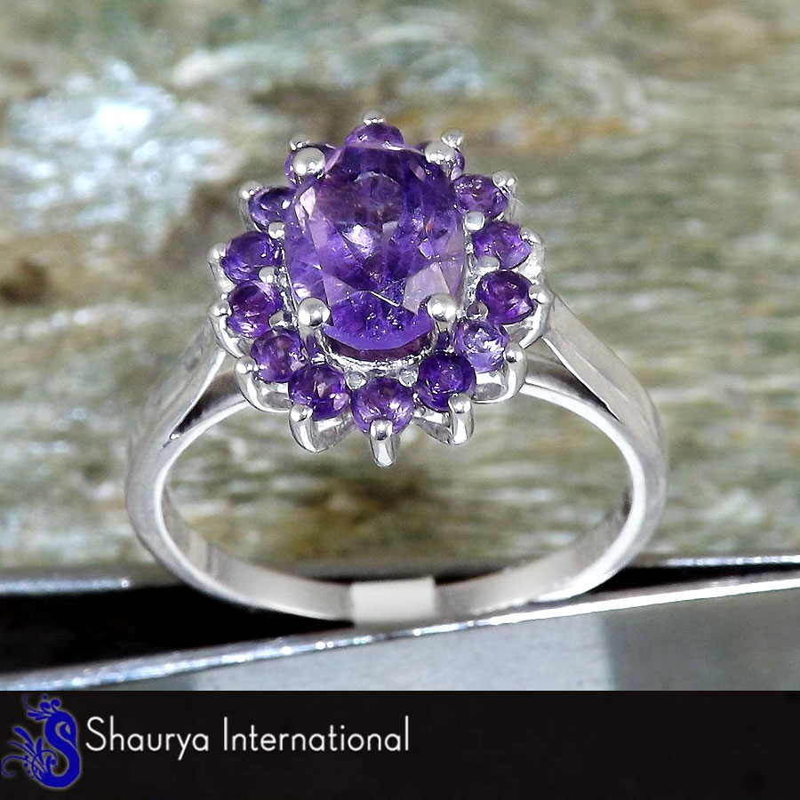 Amethyst Cut K - SFJ874 - Newly Arrival Natural Purple Amethyst Oval Cut Gemstone Solid 925 Sterling Silver Ring