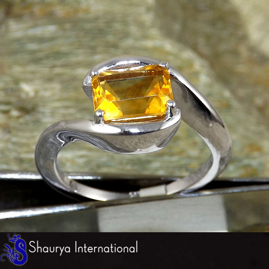 Citrine Cut B - SFJ875 - Solid 925 Sterling Silver Natural Citrine Cut Gemstone Prong Setting Ring