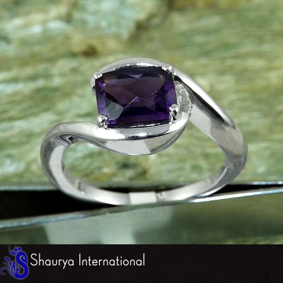 Amethyst Cut C - SFJ875 - Gorgeous Natural Purple Amethyst Cut Gemstone 925 Sterling Silver Prong Setting Ring