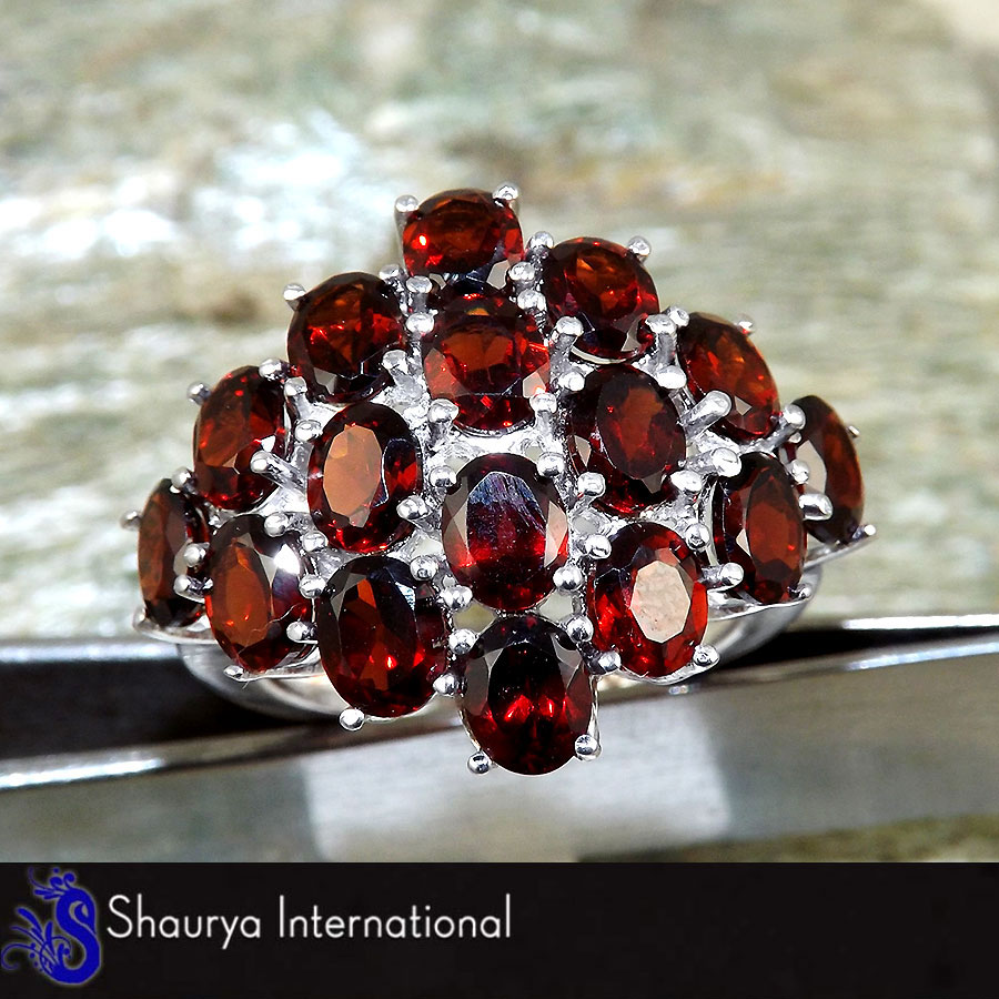 Garnet Cut I - SFJ875 - Newly Arrival Natural Red Garnet Cut Gemstone 92.5% Sterling Silver Designer Ring