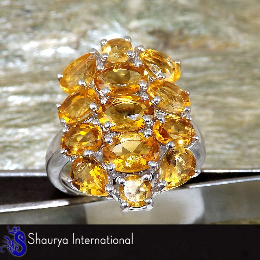 Citrine Cut K - SFJ875 - Party Look Natural Yellow Citrine Cut Gemstone Solid 92.5% Sterling Silver Designer Ring