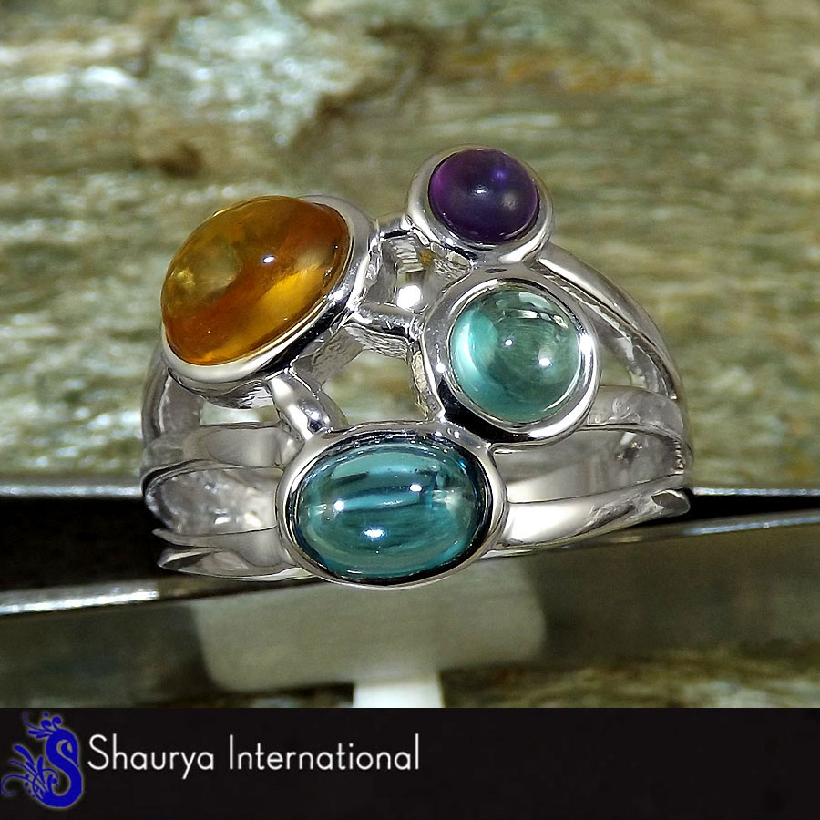 Citrine, Blue Topaz & Amethyst Cab L - SFJ875 - Indian Factory Made Cab Gemstone Solid 925 Sterling Silver Ring