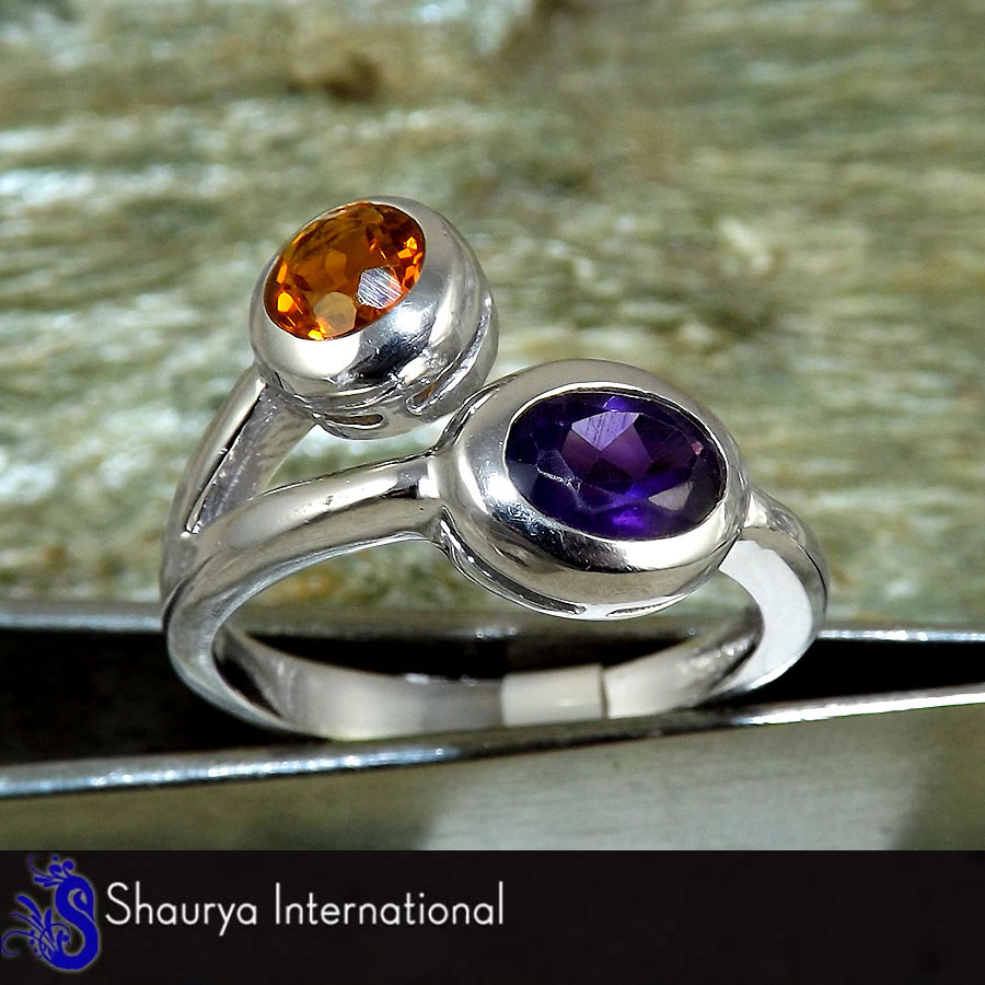 Citrine & Amethyst Cut P - SFJ875 - Awesome Natural Citrine & Amethyst Cut Gemstone 925 Sterling Silver Ring