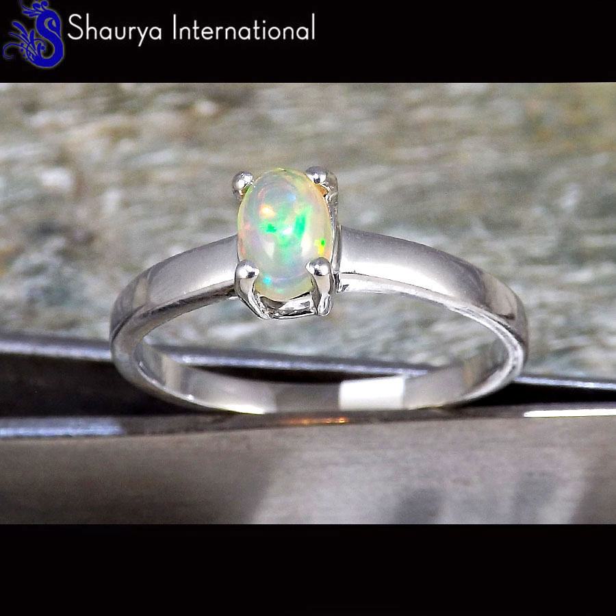 Ethiopian Opal Cab B - SFJ880 - Natural Ethiopian Opal Gemstone 925 Sterling Silver Prong Setting Ring
