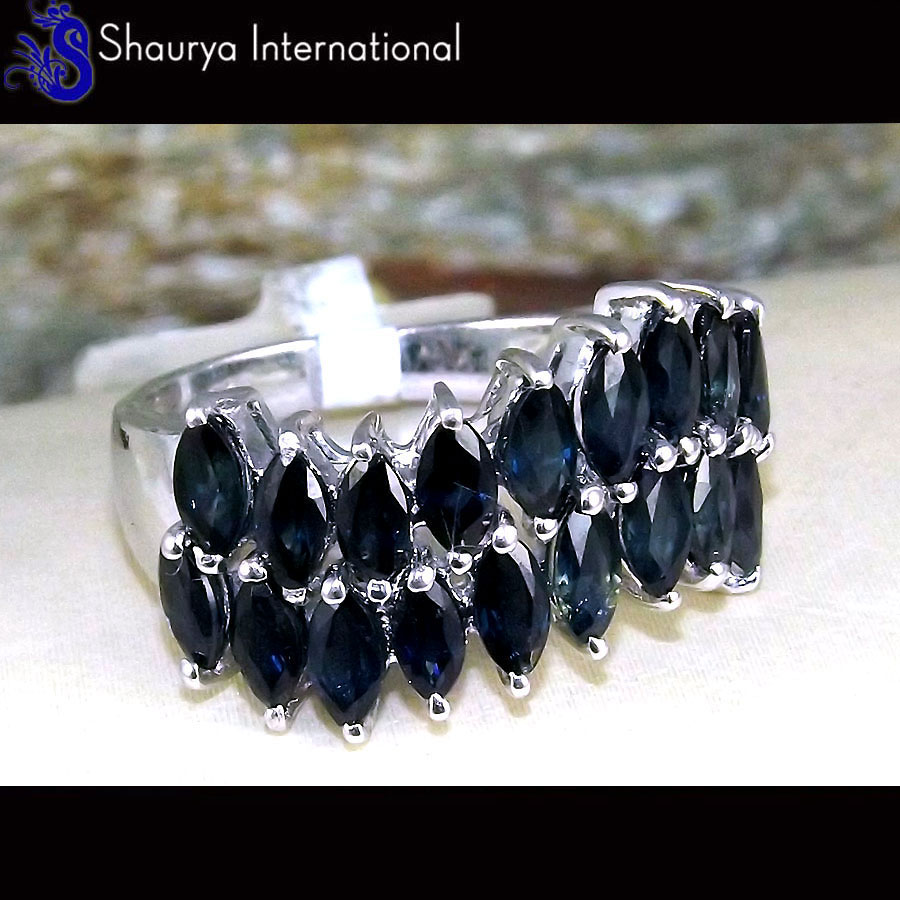 Sapphire Cut J - SFJ880 - Gorgeous Natural Sapphire Cut Gemstone Solid 925 Sterling Silver Ring