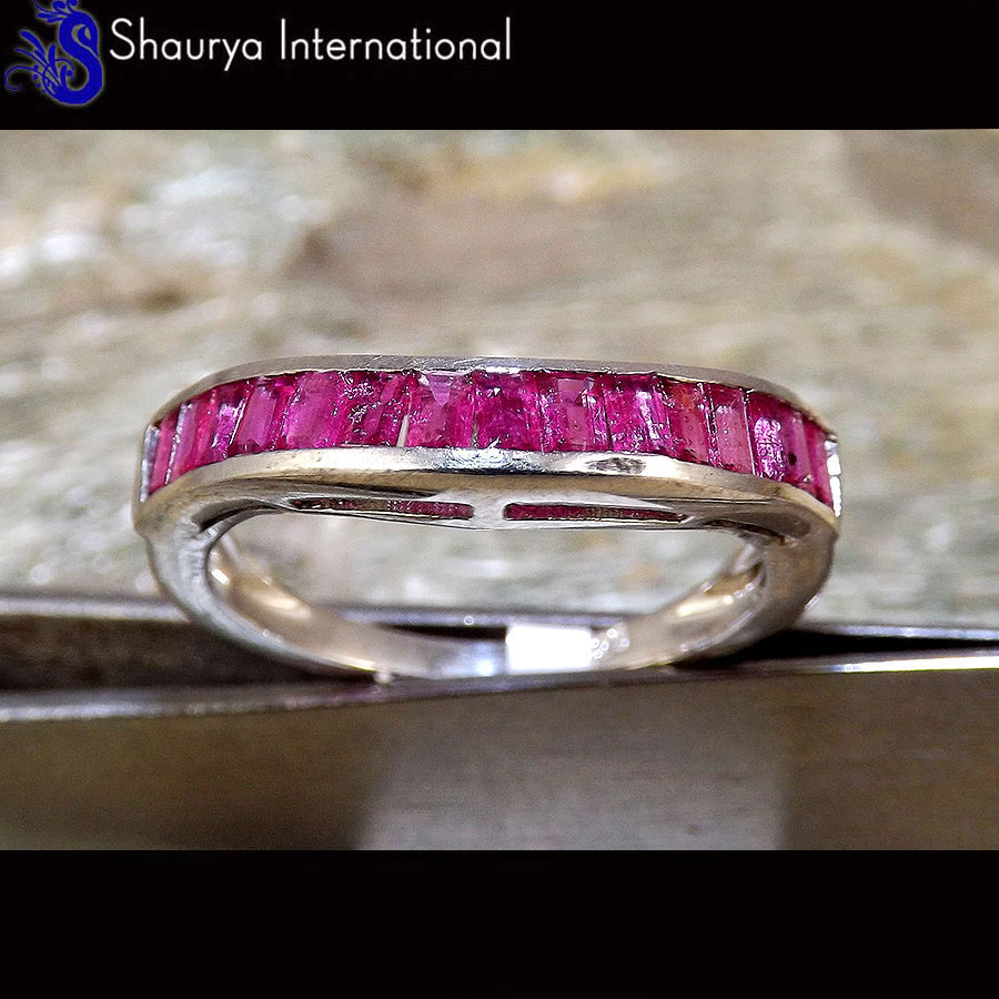 Ruby Cut N - SFJ880 - Latest Collection Natural Red Ruby Cut Gemstone 925 Sterling Silver Ring