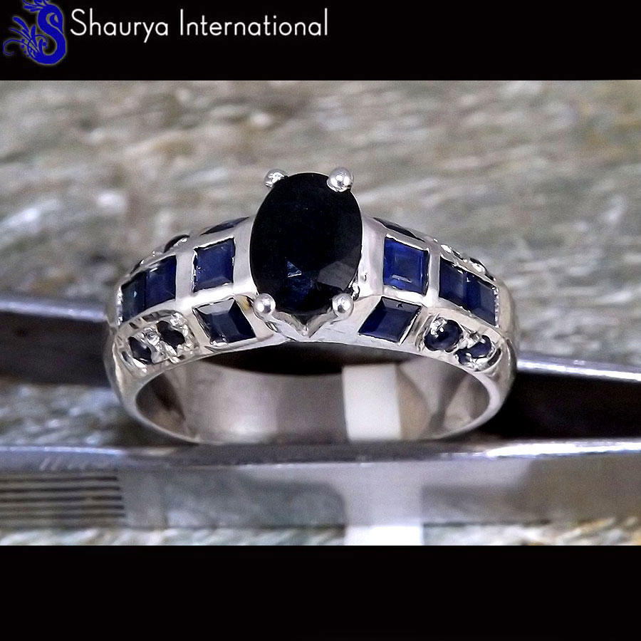 Sapphire Cut Q - SFJ880 - Newly Arrival Natural Sapphire Cut Gemstone Solid 92.5% Sterling Silver Ring