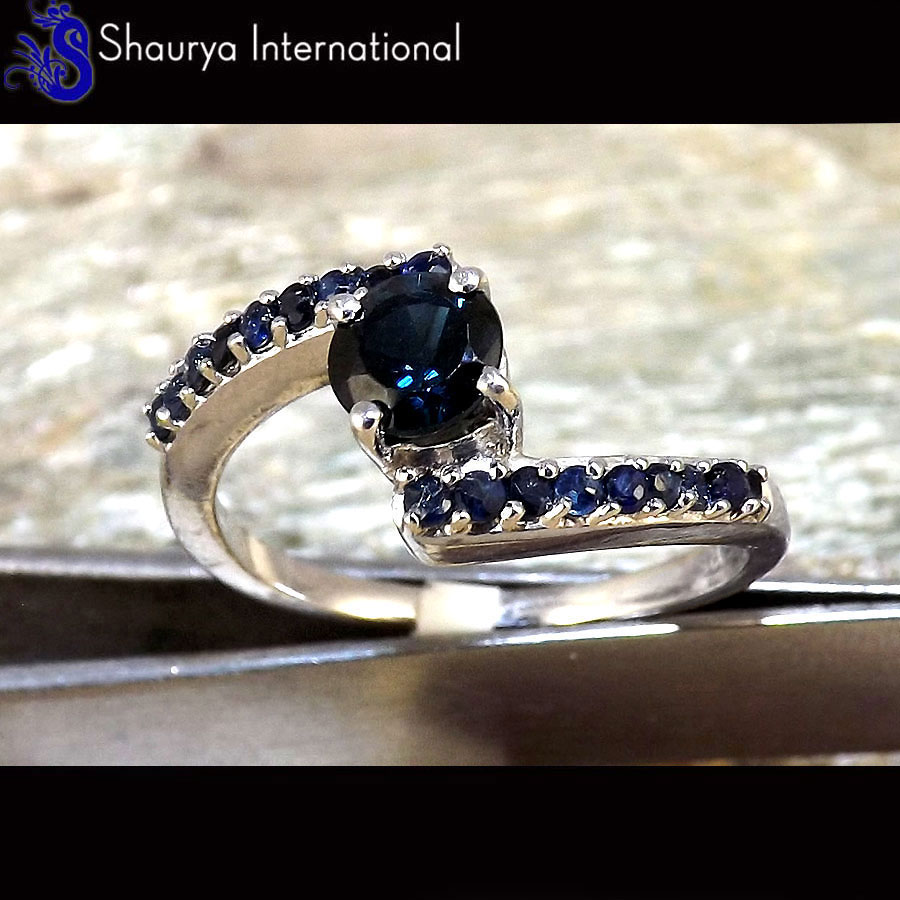 Sapphire Cut R - SFJ880 - Amazing Natural Sapphire Cut Gemstone Solid 925 Sterling Silver Ring